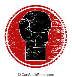 Boxing icon - Circular sign with a picture of a boxing glove