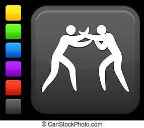 boxing icon on square internet button - Original vector...