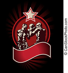 Boxing icon or emblem - Red boxing icon or emblem showing...