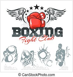 boxing, illustration., iconen, set., etiketten, vector