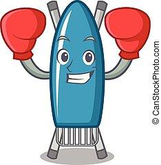 Boxing iron board character cartoon vector illustration