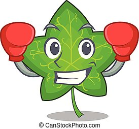Boxing ivy leaf isolated on character cartoon