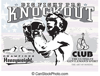 boxing knockout - illustration for shirt printed and poster