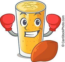 Boxing lassi mango in a cartoon glass