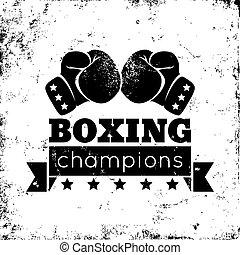 Boxing logo - Vintage logo for a boxing on grunge background
