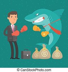Boxing match between businessman and shark business
