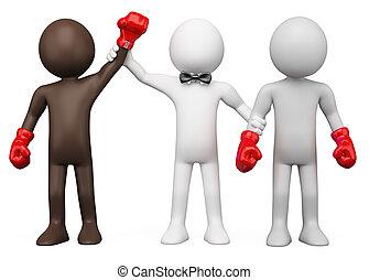 Boxing match - Boxing Referee choosing the winner between...