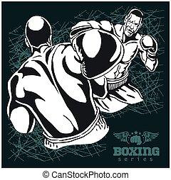 Boxing Match - Retro Illustration on grunge background