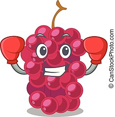 Boxing mulberry fruit on a cartoon table vector illustration
