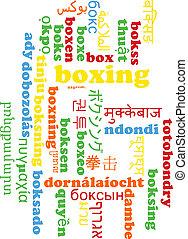 Boxing multilanguage wordcloud background concept