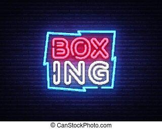 Boxing Neon sign vector design template. Boxing neon logo, light banner design element colorful modern design trend, night bright advertising, bright sign. Vector illustration