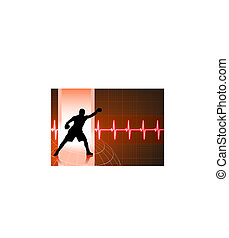 boxing on heart rate pulse background