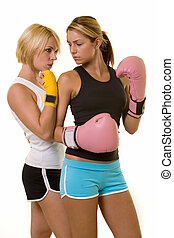 Boxing opponents - Portrait of two women wearing shorts and...