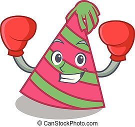 Boxing party hat character cartoon vector illustration
