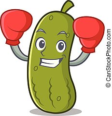 Boxing pickle character cartoon style