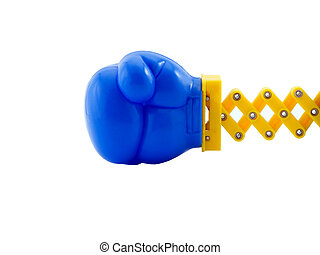 Boxing - Photo of a boxing glove on a retractable arm,...