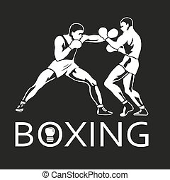 Boxing Players Fighting Sportsman Games Icon Set