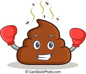 Boxing Poop emoticon character cartoon