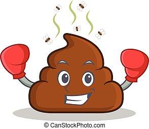 Boxing Poop emoticon character cartoon