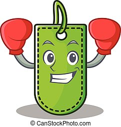 Boxing price tag character cartoon