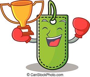boxing, prijswinnaar, label, spotprent, mascotte