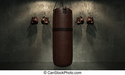 boxing punch bag. 3d rendering