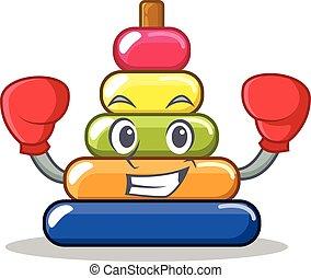Boxing pyramid ring character cartoon