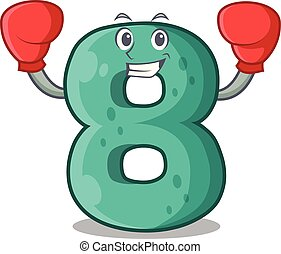 Boxing raster version cartoon shaped Number Eight