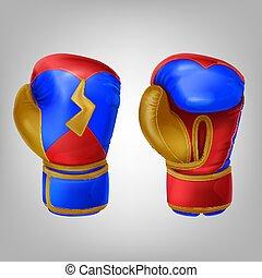 boxing, realistisch, leder, handschoenen, gekleurde, paar
