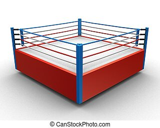 boxing ring - 3d rendered illustration of an isolated boxing...
