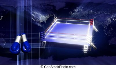Boxing Ring and Gloves