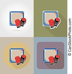 boxing ring flat icons vector illustration