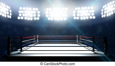 Boxing Ring In Arena - An boxing ring surrounded by ropes...