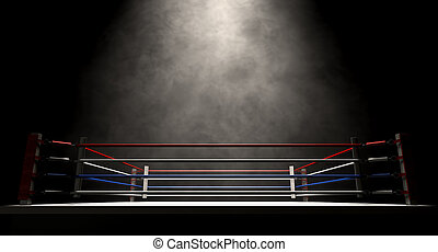 Boxing Ring Spotlit Dark - A regular boxing ring surrounded...