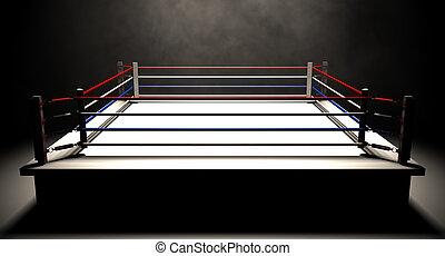 Boxing Ring Spotlit Dark