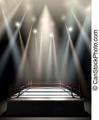 Boxing Ring Spotlit Dark - A regular boxing ring surrounded...