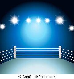 Boxing ring with illuminated light