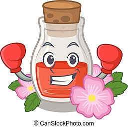 Boxing rosehip seed oil in cartoon bottle vector ...