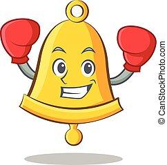 Boxing school bell character cartoon