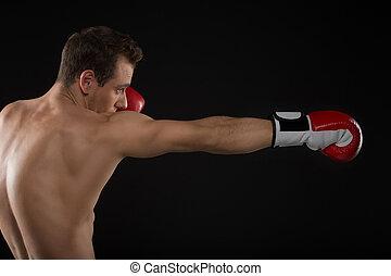 boxing., schwarzer hintergrund, freigestellt, eins, kaukasier, mann- trainieren