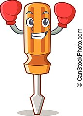 Boxing screwdriver character cartoon style