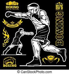 Boxing set - boxers, emblems, labels, badges, logos and designed elements. Monochrome style