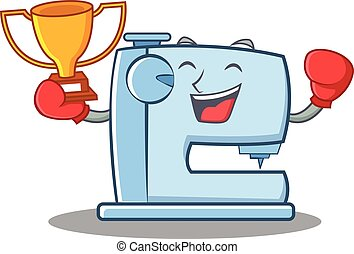 Boxing sewing machine emoticon character