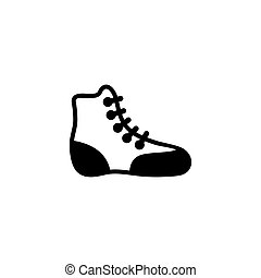 Boxing Shoe. Wrestling Boot Flat Vector Icon