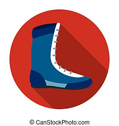 Boxing shoes icon in flat style isolated on white background. Boxing symbol stock vector illustration.
