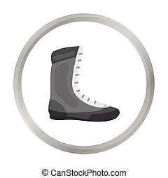 Boxing shoes icon in monochrome style isolated on white background. Boxing symbol stock vector illustration.