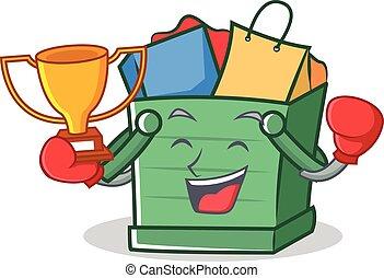 Boxing shopping basket character cartoon