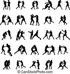 boxing, silhouette, set
