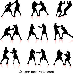 boxing, silhouette, verzameling, achtergrond