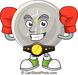 Boxing silver coin cartoon character for currency